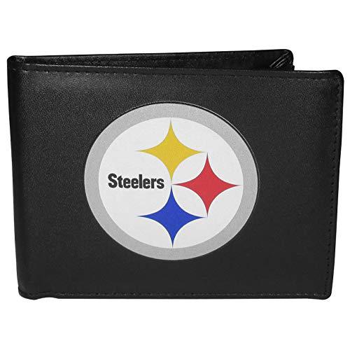 Siskiyou NFL Pittsburgh Steelers Unisex SportsLeather Bi-fold Wallet, Large Logo, Black, One Size