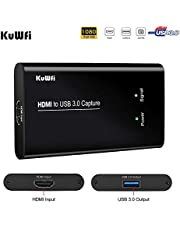 KuWFi HD Video Capture Device Card HDMI to USB3.0 HD Video Converters Game Streaming Live Stream Broadcast 1080P for Laptop/PS4/Swi/Xbox