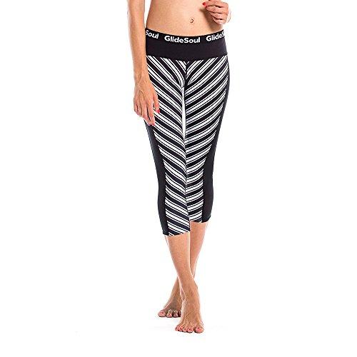 Glidesoul Women's Vibrant Stripes Collection 1mm Neoprene Leggings, XX-Small, Stripes Print/Black by GlideSoul