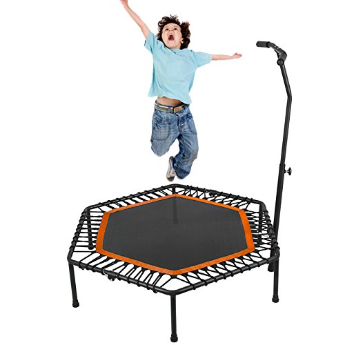 Popsport Mini Trampoline 220/330 lbs Fitness Trampoline In-Home Rebounder with Bungee Cover and Rubber Bungees for Home Cardio Exercise (50.4Inch Orange) by Popsport