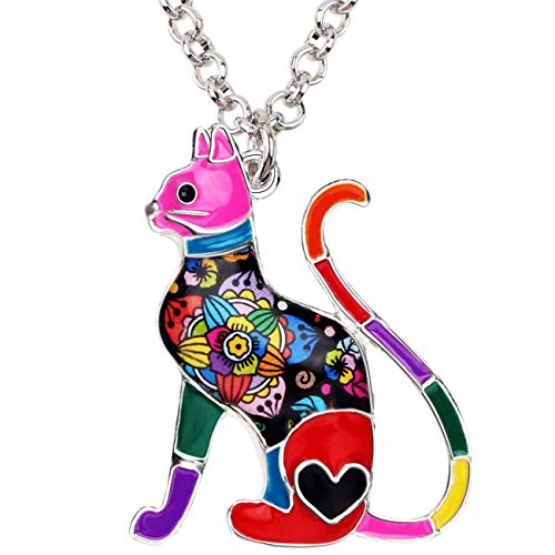 BONSNY Statement Enamel Alloy Chain Cat Necklaces Pendant Original Design Women Girls Jewelry Gift Charms (Red) ()