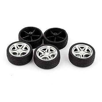 Amazon.com : Vehículo de goma cubierta de la rueda del Robot eDealMax 5 piezas de RC de coches de juguete de bricolaje 48mm Negro Llantas : Baby