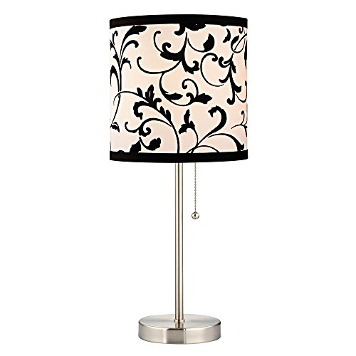 black and white table lamp. pullchain table lamp with black white filigree drum shade and e