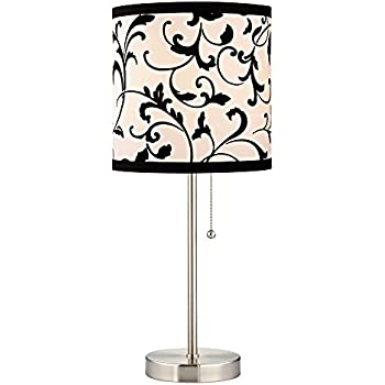 Pull Chain Table Lamp With Black White Filigree Drum Shade
