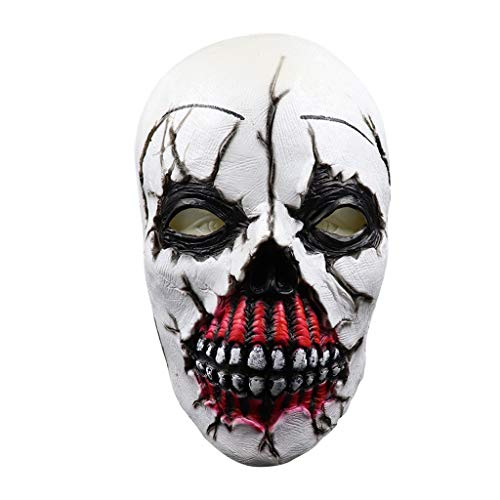Halloween Exposed Teeth (LINSfeia Scary Halloween Masks with Exposed Teeth for Adults, Latex Evil Zombie Horror Head Costume Decorations, Latex Costume Mask for Halloween Cosplay Party Decoration)