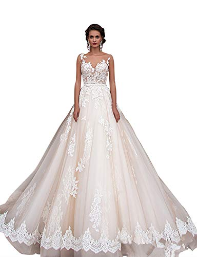 12f00db4d50 Scarisee Women s Illusion Scoop Neck Lace Appliqued Wedding Dresses Beach  Beaded Waistband Boho Bridal Gowns 2019 White 12