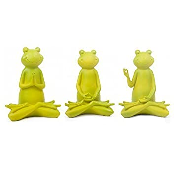 Set Of Three Large Tranquil Yoga Frog Ornaments For Home Or Garden