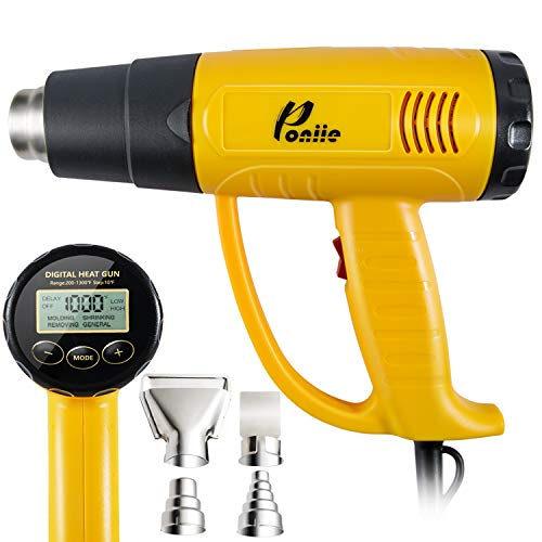 Poniie PN-H20 Digital Temperature Control LCD Heat Gun 1800W Heavy Duty Hot Air Gun 200~1300℉ for Crafts, Shrink Wrapping, Paint Remover -