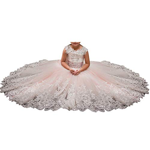 Princess Pale Pink Long Girls Pageant Dresses Kids Prom Puffy Tulle Ball Gown US - Pink Flower Rhinestone Princess