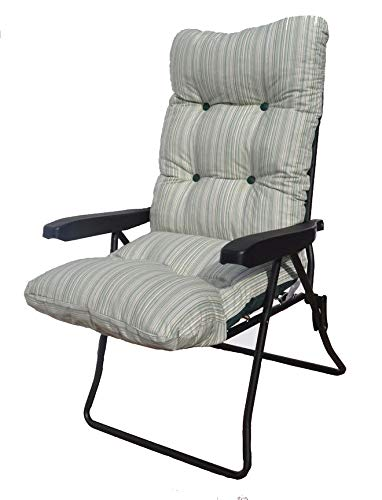 GB Leisure Garden Patio High Back Multi Position Recliner Chair with Green Stripe Cushion