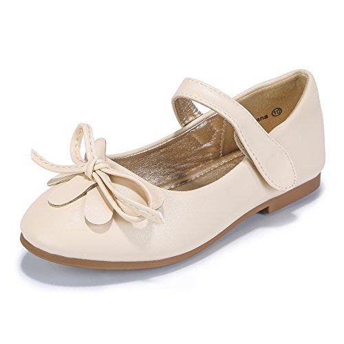 PANDANINJIA Toddler/Little Kids Ariana Bow Princess Party Wedding Ballet Flower Mary Jane Girls Flats Dress Shoes ()