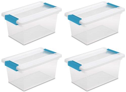Sterilite 19628604 Medium Clip Box, Clear with Blue Aquarium Latches, 4-Pack