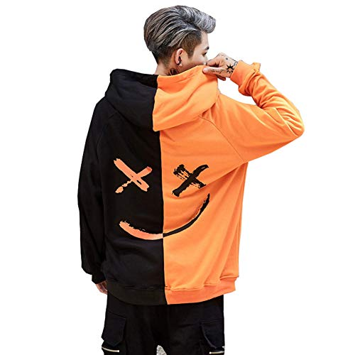 Mens Boys Fashion Hooded Jerseys Long Sleeve Contrast Color Smile Hip-Hop Sweatshirt Hoodies (M, Black-Orange)