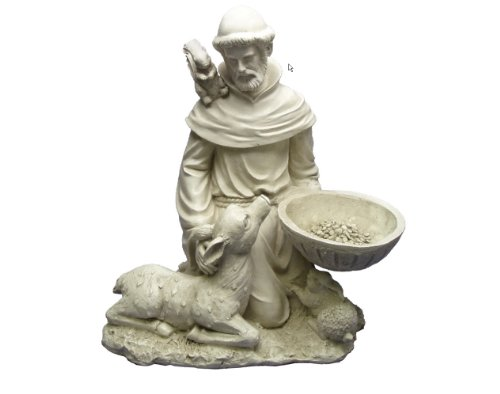 Religious Christian Sculpture St. Francis Feeds Lamp Animals Squirrel Home Garden Statue by Artistic Solutions