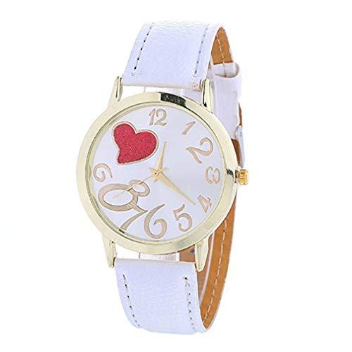 Windoson Love Heart Unique Digital Alloy Ladies Quartz Watch Fashion Comfortable Leather Strap Watch (White)