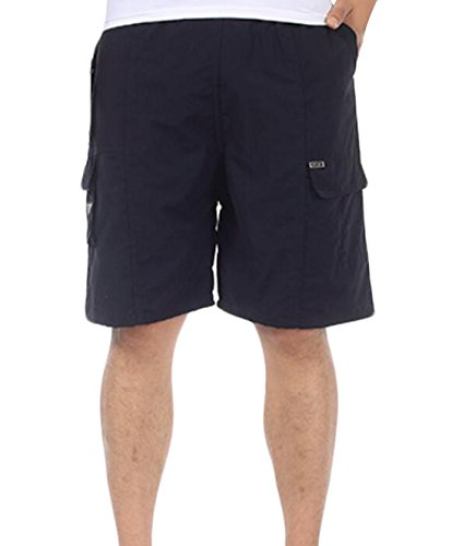 MLG Men's Relaxed Fit Work Multi-Pocket Elastic Waistband Short Navy Blue US L