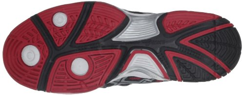 Asics - Scarpe sportive - tennis E201N 9022 Uomo, Nero (Black/Red/Lightning), 42 (8 UK)