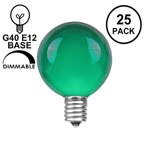 Novelty Lights 25 Pack G40 Outdoor Globe Replacement Bulbs, Green, C7/E12 Candelabra Base, 5 Watt