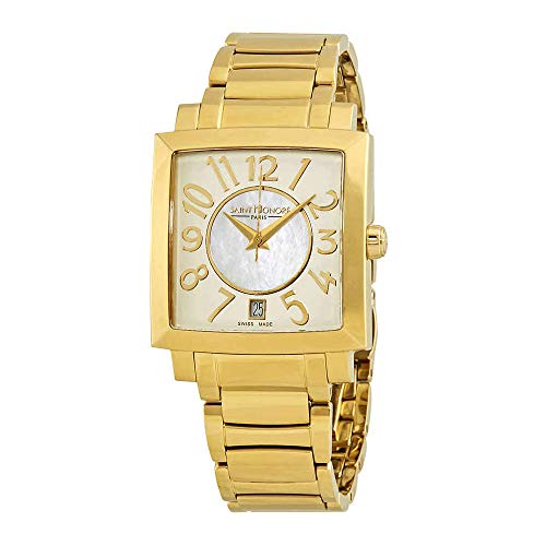 Saint Honore Women's 761117 3AYBT Orsay Paris Rectangular Yellow Gold PVD Stainless Steel Mother-Of-Pearl Watch