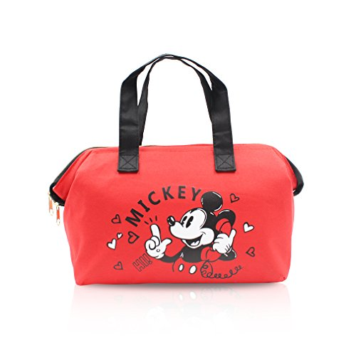 Finex Red Mickey Mouse Insulated lining Zippered Bento Lunch Box Cooler Tote Bag with Handles