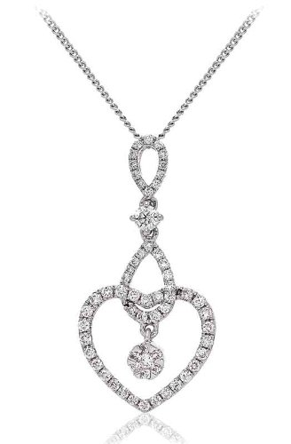 0.50CT Certified G/VS2 Round Brilliant Cut Cluster and Round Brilliant Heart and Pear Shape Diamond Pendant in 18K White Gold