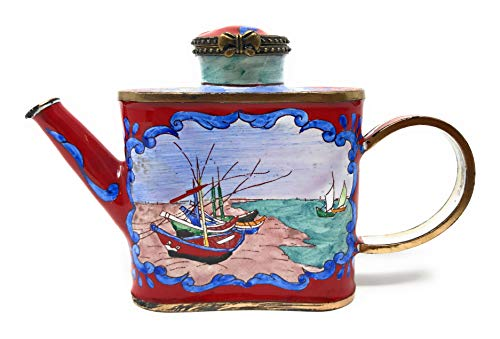 Kelvin Chen Van Gogh Fishing Boats Enameled Miniature Teapot with Hinged Lid, 4.75 Inches Long