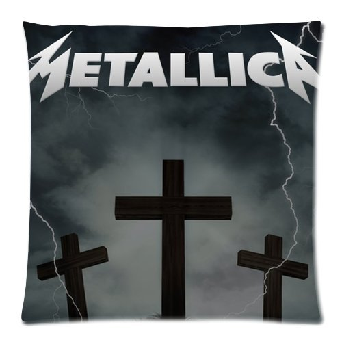 Price comparison product image Custom Cotton & Polyester Soft Rectangle Zippered Decorative square Throw Pillow case Cover Cushion Case 18X18 (Twin Sides) - famous American metal rock band Metallica cross lightning arrow personalized black pillowcase for fans design