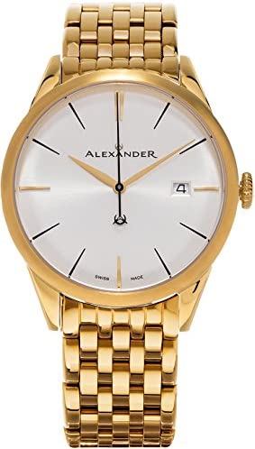 Alexander Heroic Sophisticate Men s Silver Dial Yellow Gold Plated Stainless Steel Swiss Made Watch A911B-08