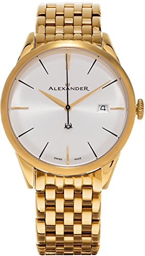 Alexander Heroic Sophisticate Men's Silver Dial Yellow Gold Plated Stainless Steel Swiss Made Watch A911B-08