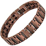 Copper Titanium Magnetic Bracelet Mens Womens Arthritis Healing Pain Relief Powerful Double HIGH Strength Strong 3,000 Gauss Magnets Therapy Joint Muscle ACHE Ladies + Free Gift Pouch! Stargems