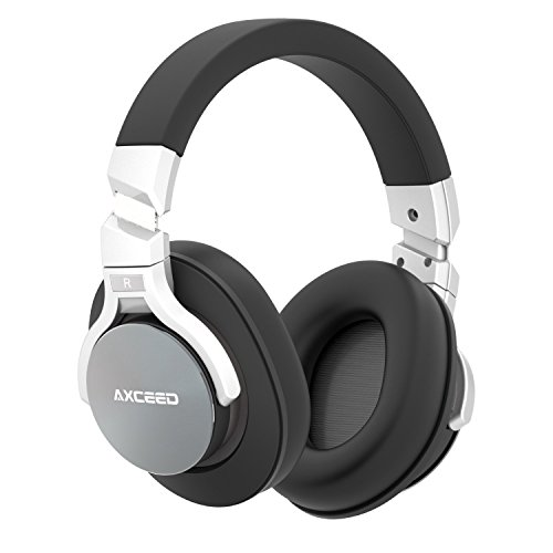 Axceed Wireless Headphones Active Noise Cancelling Bluetooth 4.1 Over-Ear Headset with Mic Studio HD Stereo Surround Sound Earphones 20H Playtime Lightweight Comfortable with Detachable Wire