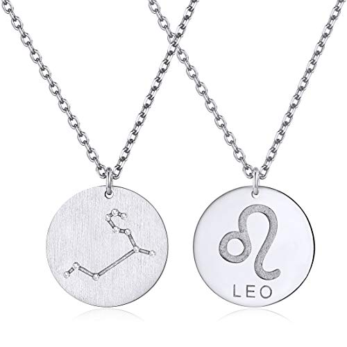 Constellation Necklace Pendant 925 Sterling Silver Round Disc Astrology Horoscope Zodiac Sign Pendant - Leo
