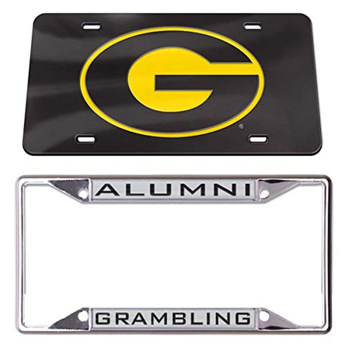 WinCraft Bundle 2 Items: Grambling Tigers:1 Alumni Premium Metal License Plate Frame and 1 Thick Plastic Crystal Mirror License Plate