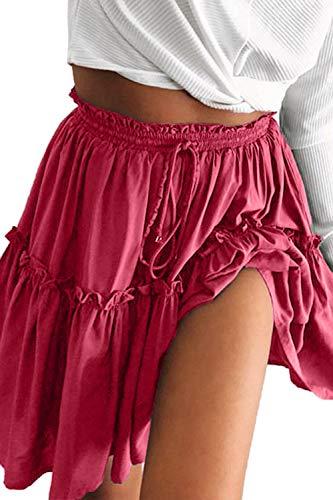 FAFOFA Flared Mini Skirt for Women Elastic High Waist Ruffle Stretchy Casual Mini Skirt Wine M ()