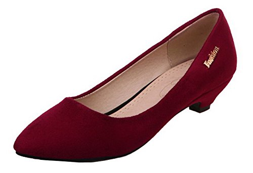AllhqFashion Women's Frosted Closed-Toe Low-Heels Solid Pumps-Shoes, Claret, 39 -