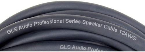 GLS Audio 12 feet Speaker Cable 12AWG Patch Cords Single 12 ft 1//4 to 1//4 Professional Speaker Cables Black 12 Gauge Wire Pro 12 Phono 6.3mm Cord 12G
