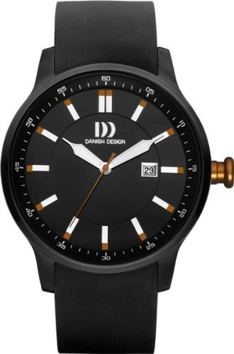 Danish Design IQ26Q997 Stainless Steel Case Leather Band Black Dial Men's Watch
