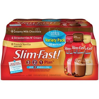 SCS Slim-fast® 3-2-1 Plan™ Shakes Variety Pack - 10 Fl. Oz. - 20 Ct.