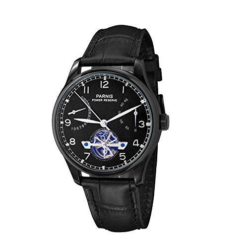 Whatswatch 43MM PARNIS ST2530 Automatic Self-Wind Movement Black dial Power Reserve Men's Watch Leather Strap PA-01140