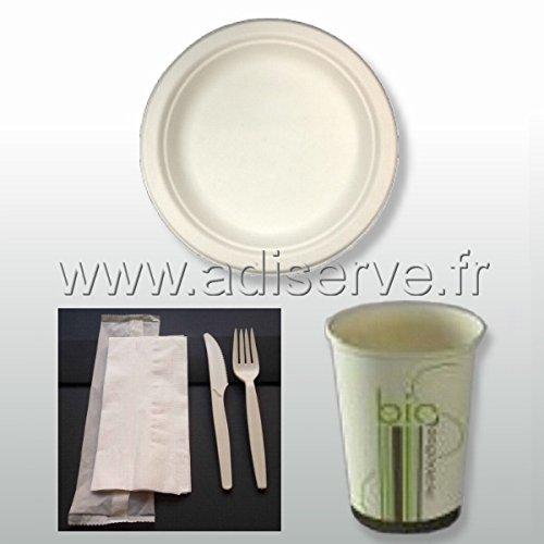 Pack bio simple 50 personnes : 50 assiettes rondes fibre de canne à sucre, 50 kits couverts 3 en 1 et 50 gobelets, jetables et biodégradables