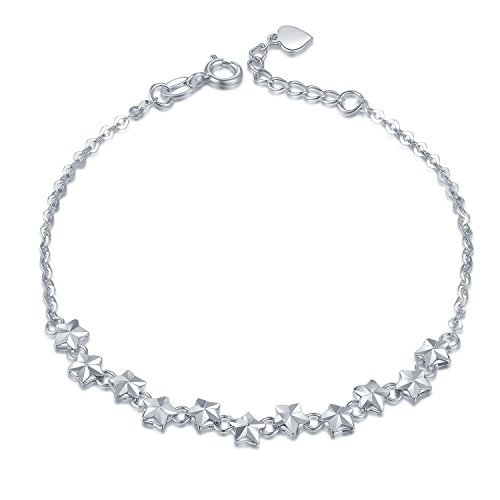 Twinkle Diamond Bracelet - MaBelle 14K White Gold Diamond-Cut Starry Night Twinkle Star Anchor Chain Bracelet (6.5