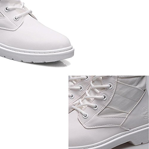Women Martin Short Ankle Boots Leather Flat Heel Warm Shoelace Casual Shoes WHITE-39 cBz1Yw6
