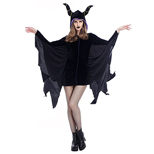 [Lyn Home Women's Sexy Halloween Bull Horn Hooded Deveil Batwing Costume Cosplay Dress, Black, Size XL, US Size 12-14] (Pumpkin Carving Templates Free Printable)