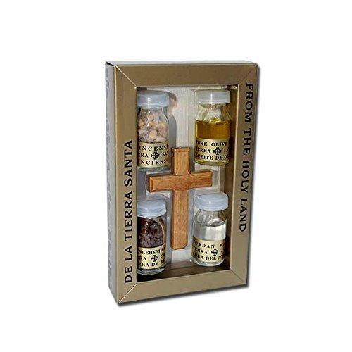 オリーブウッドクロスセットwith 4 Bottles – オイル、水、Incense & Earth – Prayerカードby HolyRoses   B07D23SSJB