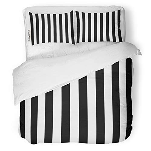 SanChic Duvet Cover Set Minimal Awning Stripe Black and White Line Pattern Decorative Bedding Set with 2 Pillow Cases Full/Queen Size - Stripe Bedding Awning