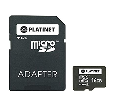 Platinet 16GB MicroSDHC + Adapter SD Memoria Flash Clase 10 ...
