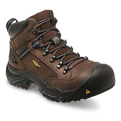 (KEEN Utility - Men's Braddock Mid (Steel Toe) Waterproof Leather Work Boot, Bison/Ensign Blue, 11)
