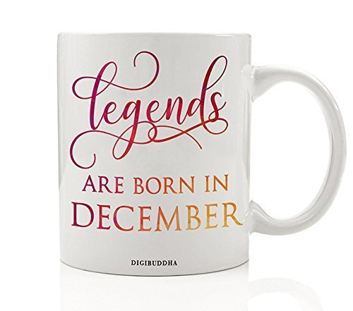 Yellow Bold Designer Bracelet - Legends Are Born In December Coffee Mug Birth Month Quote Most Fabulous People Winter Birthday Gift Idea Funny Bday Christmas Present Friends Family Coworkers 11oz Ceramic Tea Cup by Digibuddha DM0351