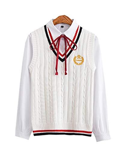 (ジュンィ) レディースニットベスト Vネック セーター カジュアル 秋冬 ノースリーブ チョッキ ショート ゆったり 暖かい