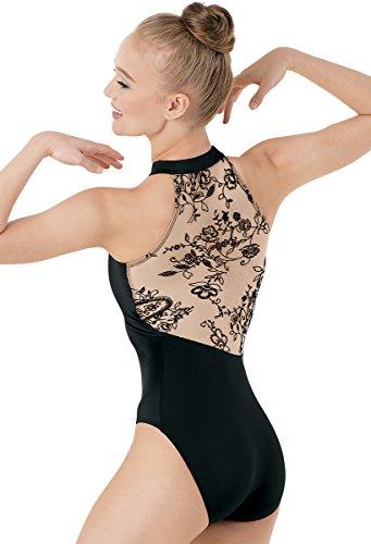 Balera Dance Halter Leotard Floral Design Nude/Black Adult Medium